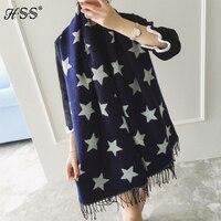 Двусторонняя пятиугольной большие звезды женщины scarives имитация кашемира бахромой шарфы Женщины толстые теплый кондиционер шарф