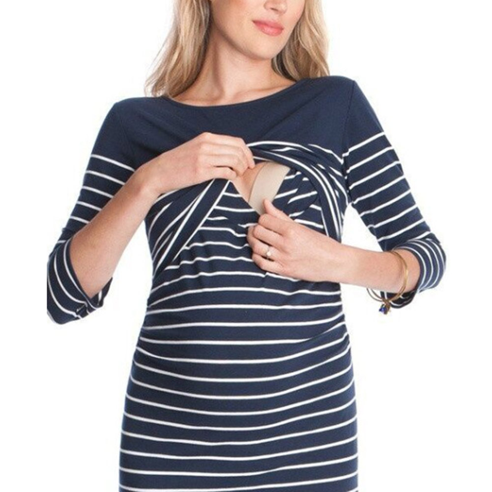 2018 Summer Maternity Nursing Nightgown Bodycon Slim Breastfeeding Dress Clothes For Pregnant Women Knitted Pregnancy Striped