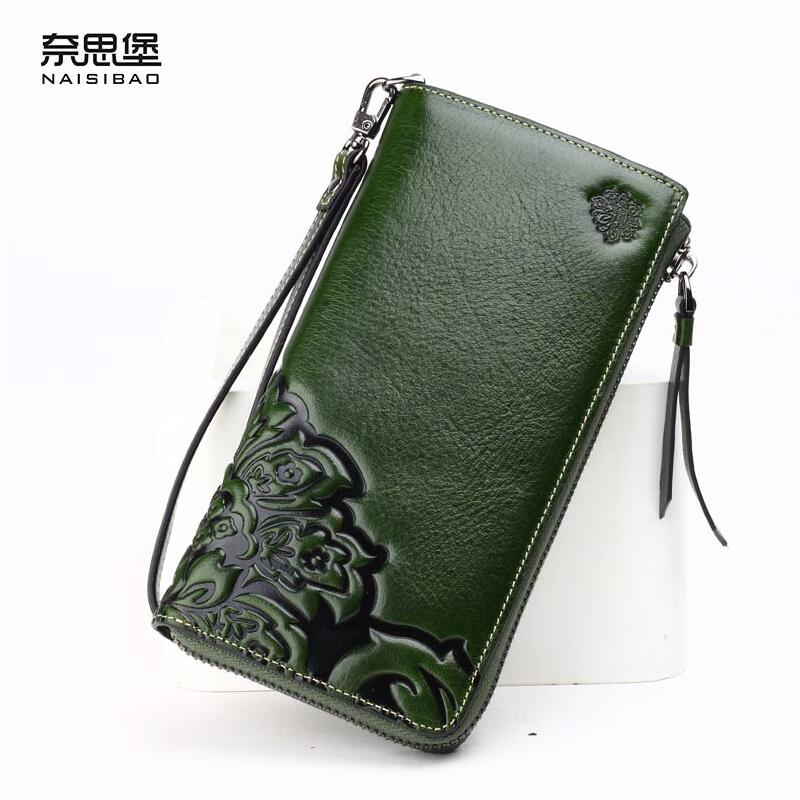 ФОТО 2016 New genuine leather bag women long zipper wallets brands quality fashion women purse retro embossing women wallets