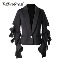 TWOTWINSTYLE Bowknot Blazer Women's Jacket Hollow Out Long Sleeve Slim High Waist Coats Autumn 2018 Fashion Vintage Clothing