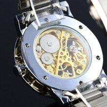 WINNER Gold Men Skeleton Mechanical Watch Stainess Steel Steel Hand Wind Watches Transparent Steampunk Montre Homme Wristwatch