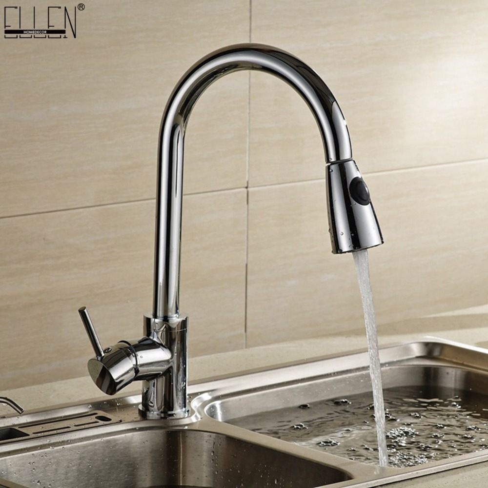 Deck Mounted Kitchen Sink Faucets Pull Out Hot And Cold Mixer Tap Single Handle Water Crane Copper Chrome Finished ELK5407