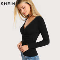 SHEIN Women T shirt Streetwear Slim Fit Womens Tops Black Deep V Neck Ribbed Wrap Top Autumn Long Sleeve Elegant T-shirt