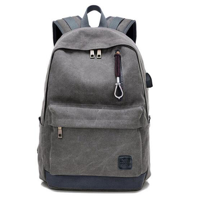 Men Women Canvas Backpack Usb Charging Headphone Holes For Agers Office Laptop Ipad Daypack