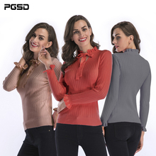 PGSD Autumn Winter Simple fashion Pure Women Clothes Long sleeves tied lotus collar Slim Knitted sweater Bottoming female