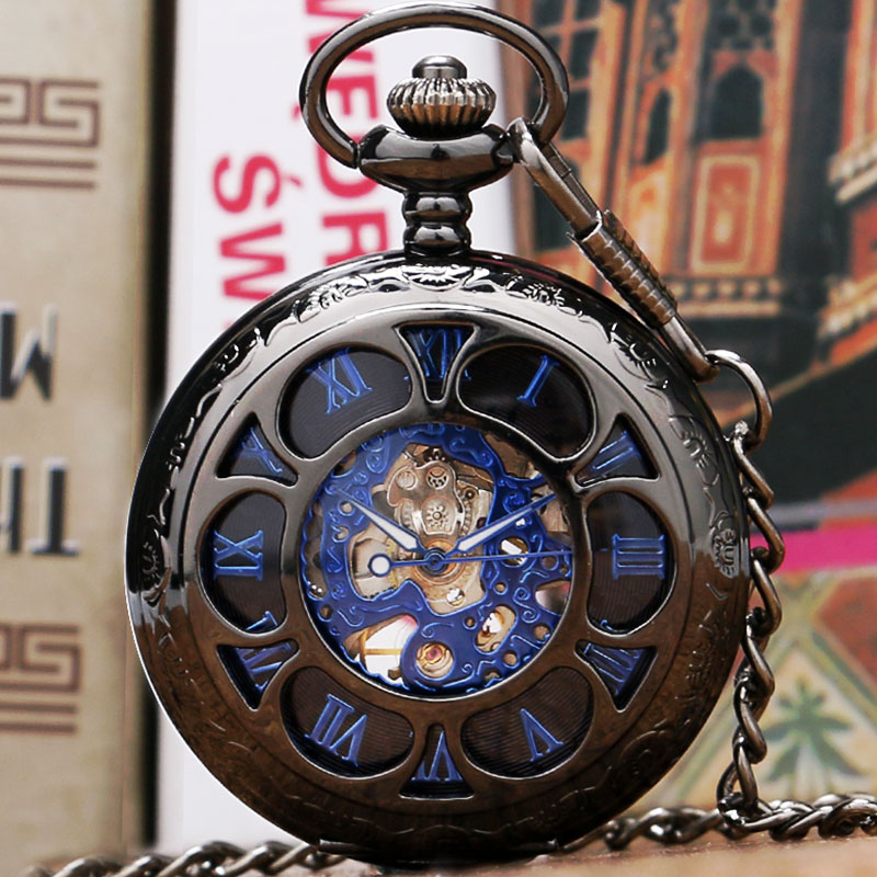 Black Flower Hollow Case With Blue Roman Number Skeleton Mechanical Pocket Watch With Chain For Women Men