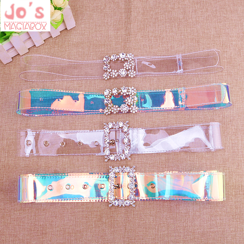 Flash Drill Laser Transparent Wide   Belt   Women Inlaid Square Buckle Fashion Chic Plastic Waistband Multi   Belt