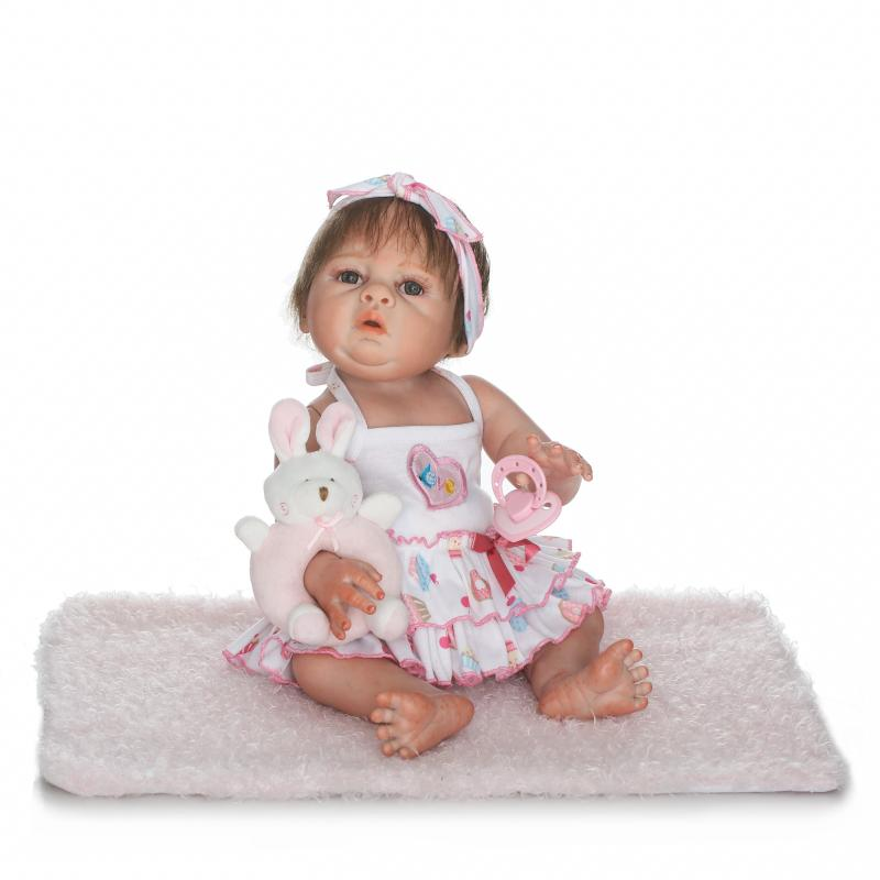 50cm Full Body Silicone Reborn Baby Girl Doll Toys Lifelike Baby-Reborn Princess Doll Birthday Christmas Gift Kids Brinquedos full set top quality 60 cm pvc doll 1 3 girl bjd wig clothes shoes all included night lolita reborn baby doll wedding price shas