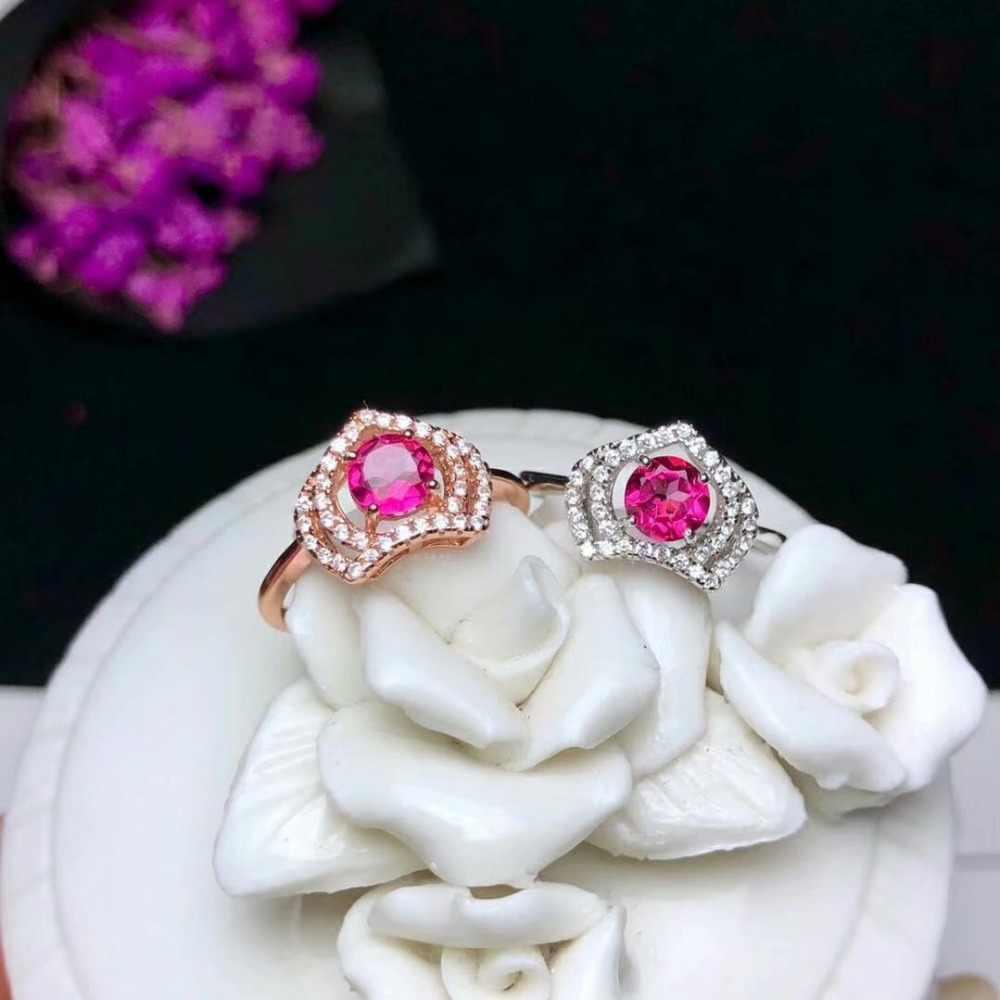 Shilovem 925 เงินสเตอร์ลิงแหวน topaz สีชมพูผู้หญิงเปิด trendy fine ใหม่ของขวัญเครื่องประดับพืช yhj0505agfb