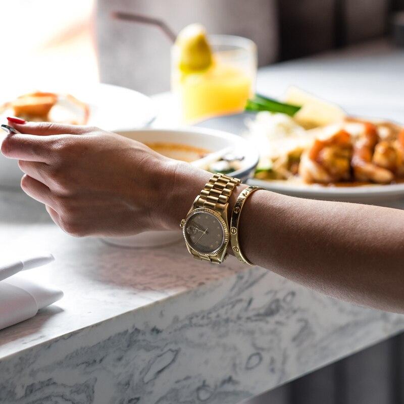 Mujeres relojes reloj Feminino 2019 de diamantes de oro papel pulsera señoras reloj de pulsera de lujo chica reloj de cuarzo elegante clásico Mujer-in Relojes de mujer from Relojes de pulsera    3
