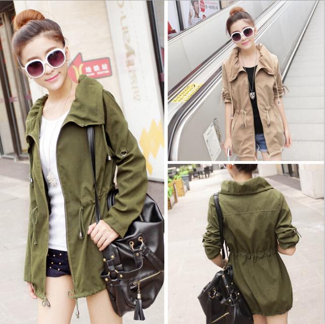 2016 Nueva Primavera chaqueta corta Verde/de Color Caqui Mujeres outwear Primavera Del Diseño Corto Delgado Capa del Juego S/M/L Envío Libre S1021S0001