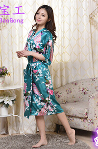 Black White Silk Robe Green Dressing Gowns For Women Wholesale Robe