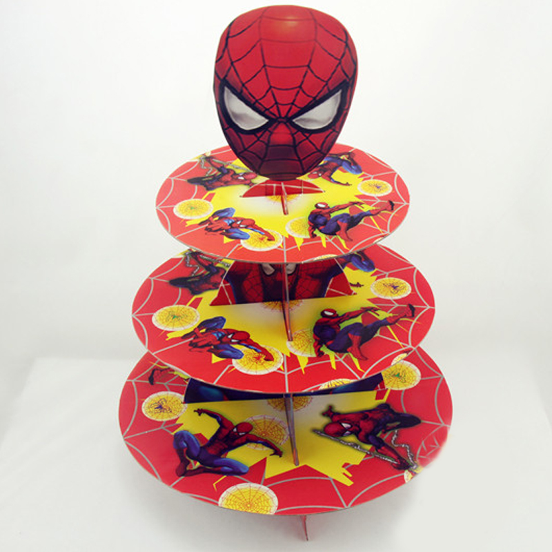 Happy Birthday Events Party Paperboard Cake Stand Decoration Kids Favors Baby Shower Spiderman Theme 3 Tier Cupcake Holder 1SetHappy Birthday Events Party Paperboard Cake Stand Decoration Kids Favors Baby Shower Spiderman Theme 3 Tier Cupcake Holder 1Set