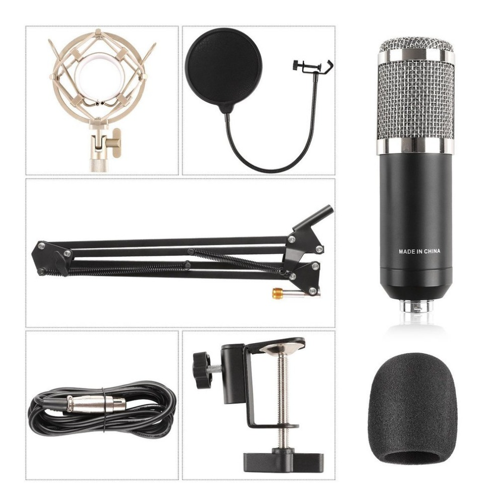 professional bm800k audio vocal studio condenser microphone set 3 5mm wired computer microphone. Black Bedroom Furniture Sets. Home Design Ideas