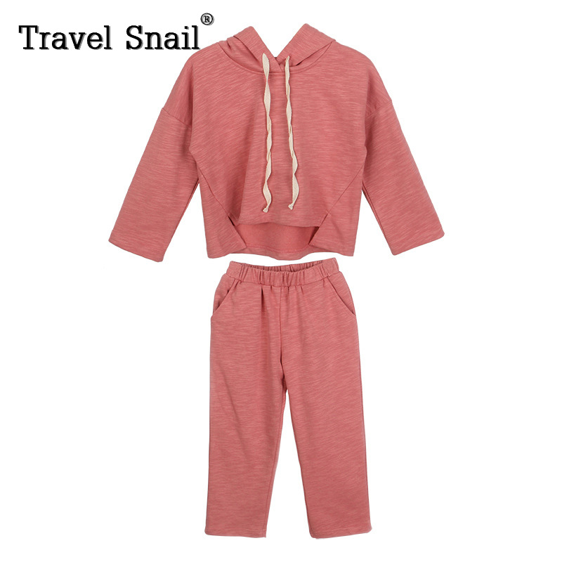 Travel snail 4-9 yrs baby girls long sleeve hoodies+pants sets for girls trousers kids customs girls sets cotton 2018 Spring New plus size pants the spring new jeans pants suspenders ladies denim trousers elastic braces bib overalls for women dungarees
