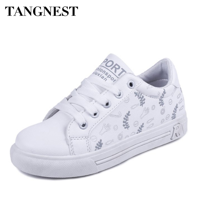 Tangnest Women Vulcanized Shoes Round Toe Comfortable Fashion Cartoon Female Shoes Lace Up Outdoor Casual Flat Sneakers
