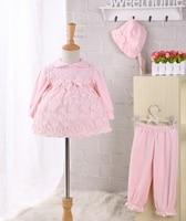 2pcs/set newborn baby girl dress cotton 1 year baby birthday dress long sleeve Infants pink lace baptism gown christening dress