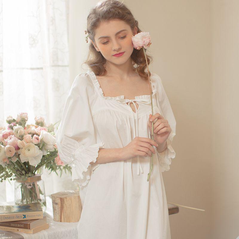 2018 Ladies Sleepwear Cotton Princess Nightdress Classical Royal Nightgown  Puff Sleeve Long Soft Square Neck Victorian Sleepwear-in Nightgowns    Sleepshirts ... 1f76c2a2d