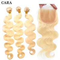 Blonde Bundles With Closure Brazilian Remy Hair #613 4Pcs Body Wave Bundles And 1pcs 4x4 Lace Closure CARA
