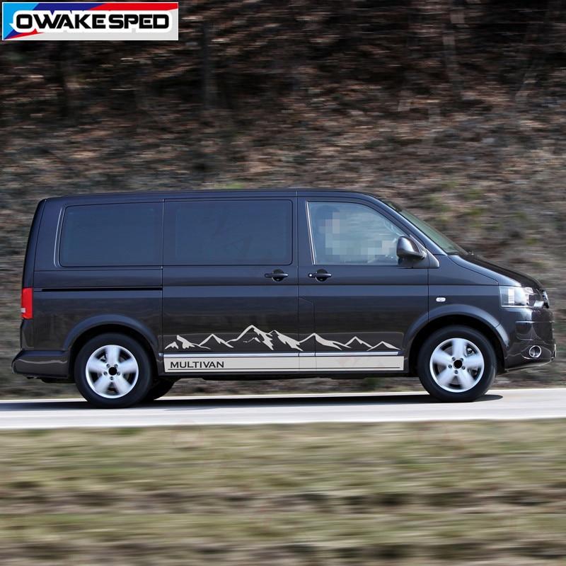 Montanha Gráficos Vinyl Decal Para Volkswagen Multivan T5 T6 Califórnia Do Esporte Ao Ar Livre Adesivo de Carro Auto Porta Lateral Do Corpo Listras