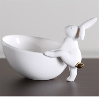 Fruits Plates Ceramic Rabbit Storage Tray Dish Porcelain Snack Plate Jewelry Plate Tableware R379