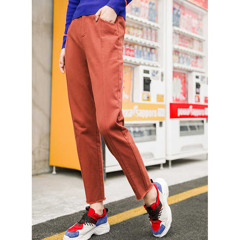 INMAN 2019 Autumn Bottom Clothing Mid Loose Style Solid Color Simple Causal Women Fur Line Long Pants