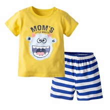 QAZIQILAND 2019 New Hot Sale Baby Boys Sets Summer Boys Sets Clothes T shirt+short Pants cotton sports striped Set Children Suit стоимость