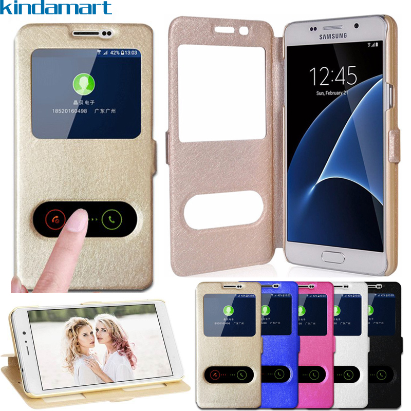Flip Case For Samsung Galaxy J1 2016 J120F Case Window View Quick Call Answer Case For Galaxy J1 2016 Duos Cover Tempered Glass