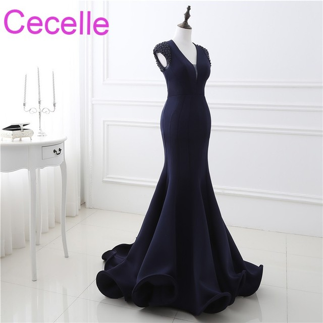 Mid Night Blue Mermaid Long Evening Dresses 2019 Sexy Open Back Women Formal Navy Blue Evening Party Gowns Real Photos