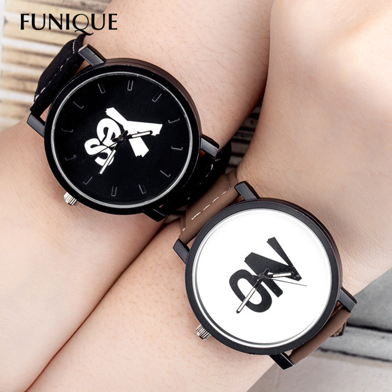 FUNIQUE Fashion Lovers Couple Watches Women Men Leather Simple YES NO Watch Hour Clock Ladies Quartz Wrist Watch Relojes Mujer keep in touch couple watches for lovers luminous luxury quartz men and women lover watch fashion calendar dress wristwatches