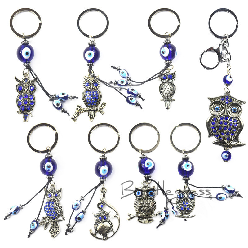 Jewelry & Accessories Charitable Bristlegrass Turkish Blue Evil Eye Rhinestone Owl Keychain Car Key Chains Ring Holder Amulets Lucky Charm Pendants Blessing Gift Excellent In Cushion Effect Jewelry Sets & More