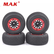 30003 4Pcs/Set RC Short Course Truck Tires and Wheel Rims with 12mm Hex fit 1:10 Scale  Car Model Accessories 4pcs set rc parts 12mm hex bead loc short course ruber tire rims for hpi hsp rc 1 10 traxxas slash