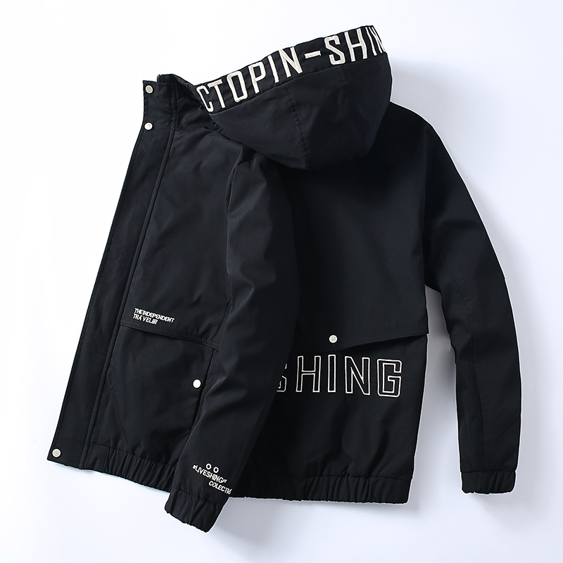 men slim Tooling movement Printed hooded jacket 2019 men's fashion casual spring and autumn high quality thin coat size S-3XL