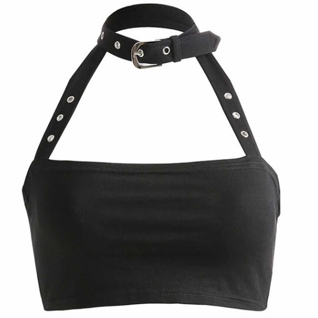 2019 Summer Crop Tops Blusa Women Sleeveless Sexy Bandage T Shirt Top Fashion Black Lace Up  Tumblr Ladies #YL5