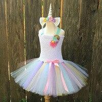 Girls Tutu Dresses Rainbow Princess Pony Unicorn Dress With Headband Fancy Christmas Halloween Costume Kids Girl