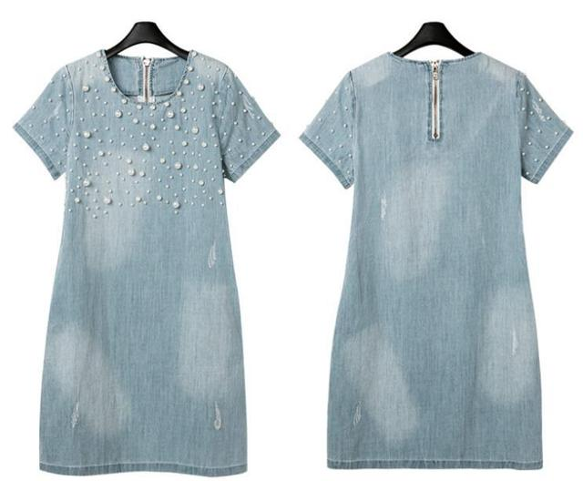 New 2014 Summer Casual Women Dress Fashion Denim Jeans Dresses Vestidos Cotton Dresses Plus Size M-5XL Women Clothing c19-c