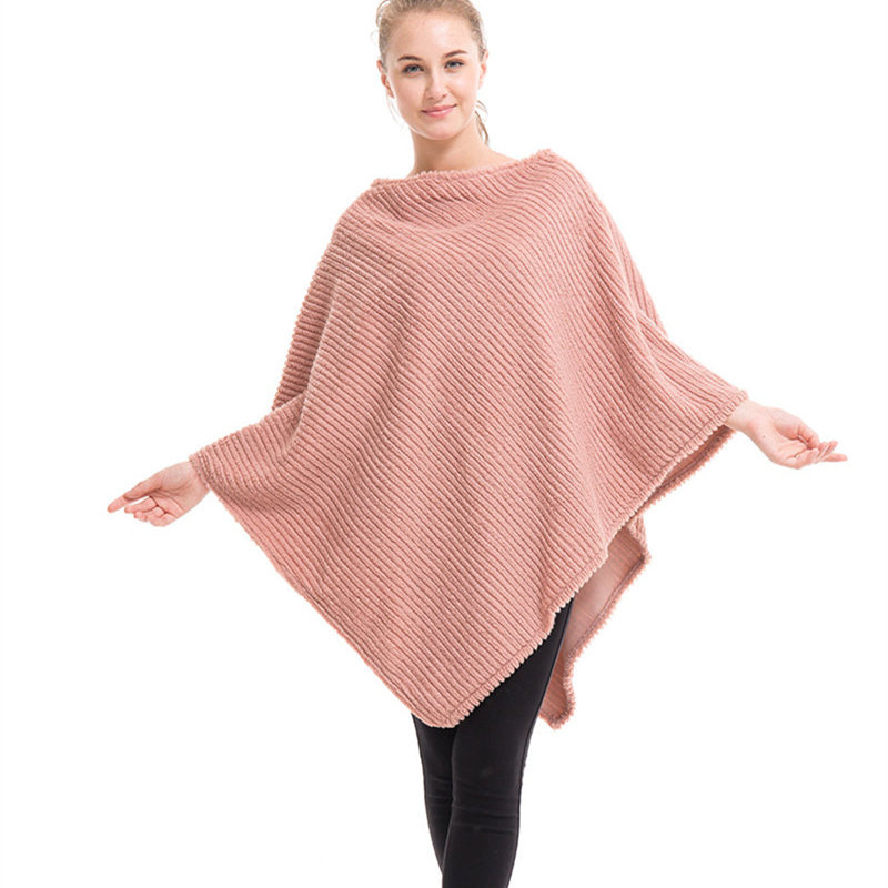 Solid Wool Soft Pullover Poncho For Women 2017 Striped Shawls   Scarves     Wraps   Female Loose Winter Warm Coat