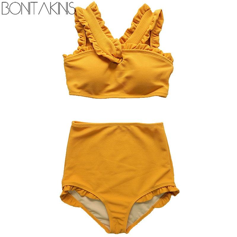 Bonitakinis 2019 Korean version High Waist Bikini Set Solid Orange Swimsuit Women Young Lady Sweet Swimwear biquini