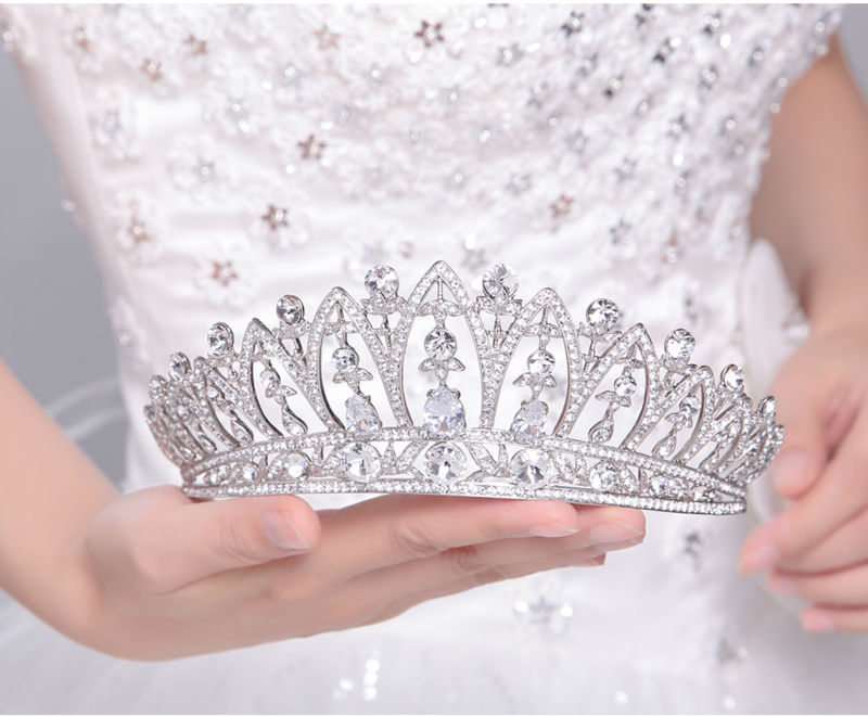 Wholesale alloy crown bride wedding hair accessories wedding headdres type jewelry rhinestone bride tiara