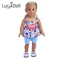 The Luckdoll blue bow suit fits the 18 inch American doll, the best holiday gift for a child.