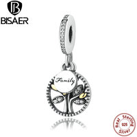 925 Sterling Silver FAMILY TREE SILVER DANGLE WITH 14K AND CLEAR CUBIC ZIRCONIA CHARM Fit Pandora