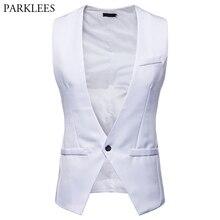 Белый мужской костюм жилет классический формальный бизнес Тонкий Жилеты плотной посадки для мужчин глубокий v-образный вырез одна кнопка жилет Homme Colete Masculino XXL