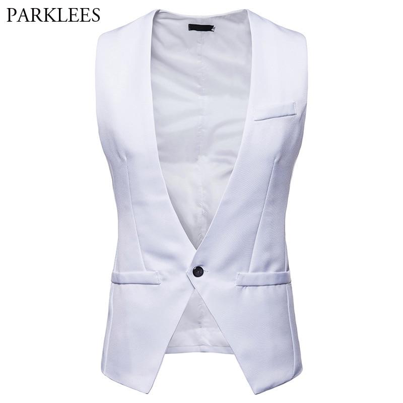 2018 White Mens Suit Vest Classic Formal Business Slim Fit Vests Men Deep V Neck One Button Waistcoat Homme Colete Masculino XXL