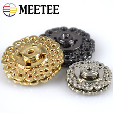 MEETEE 10pcs Metal Snap 15mm 21mm 25mm Clasp Hollow flower Invisible Coat Buttons Fashion Suit buckle Black Gold Silver D2-1