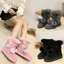 Classic Luxury Brand Women Boots Mid-calf Snow Boots Plush Winter 2018 New Fashion Flat Shoes Woman Slip-on Warm High Quality winter 2018 woman warm fox hair snow boots female slip on flat shoes woman casual knee high boots girls bling crystal boots