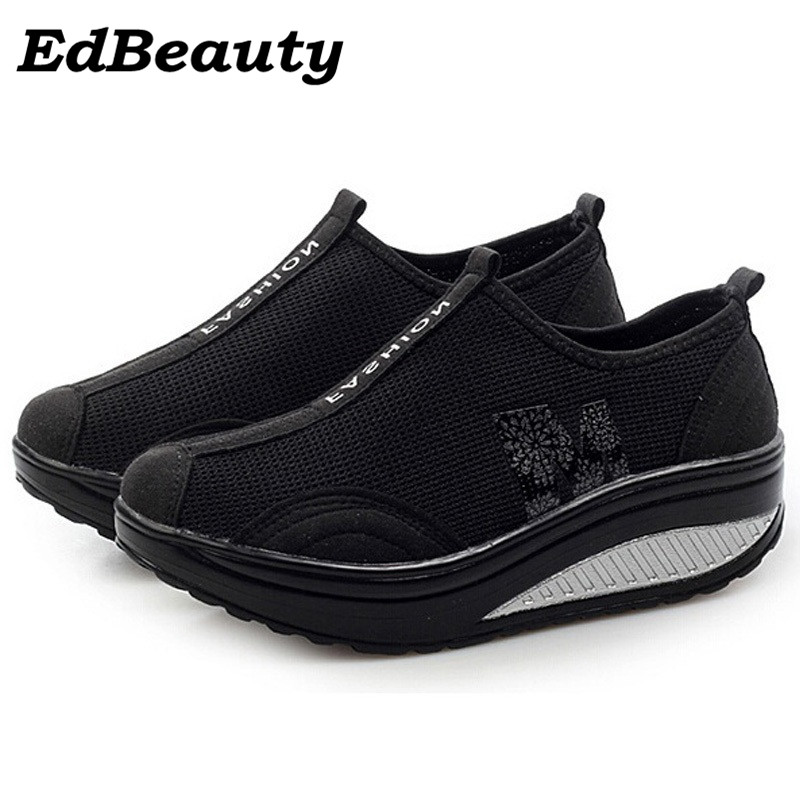New casual shoes woman low top height increasing slimming swing shoes summer breathable air mesh platform walking shoes new mesh air women flats summer casual shoes height increasing comfort shoes woman platform ladies shoes
