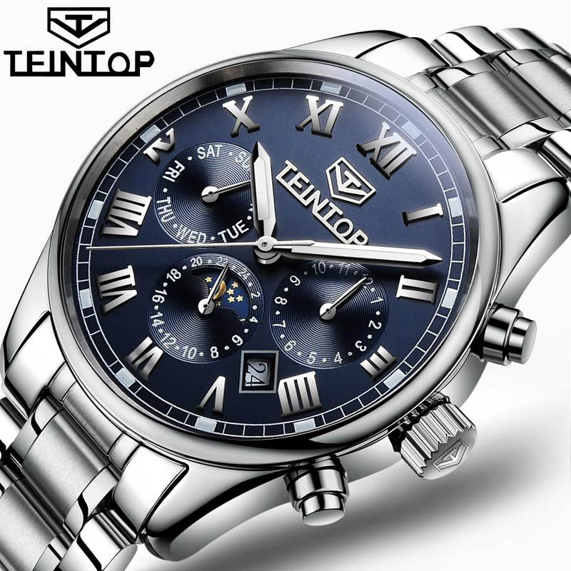 Automatic Mechanical Watch Men TEINTOP Luxury Brand Mens Watches Moon Phase Sapphire Blue clock Waterproof relogio masculino