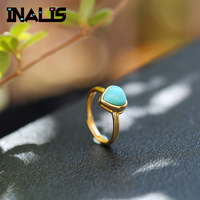 INALIS Delicate Statement S925 Sterling Silver Rings for Women Inly Heart Blue Turquoise Fine Jewelry Girl Friend Finger Gift