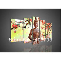 Modern Abstract Wall Art Decor Buddha Feng Shui Canvas Oil Painting Decorative Art Religion plume flower free shipping