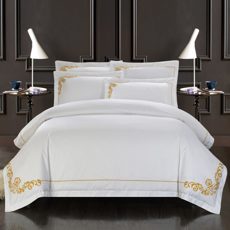 100 Satin Cotton White Embroidered Bedding Set Hotel